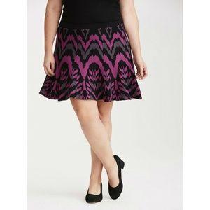 Torrid Black Purple Gray Sweater Knit Skater Skirt